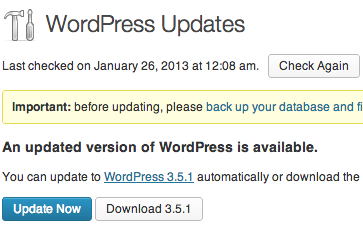 WordPress Maintenance Release 3.5.1 Update Screen
